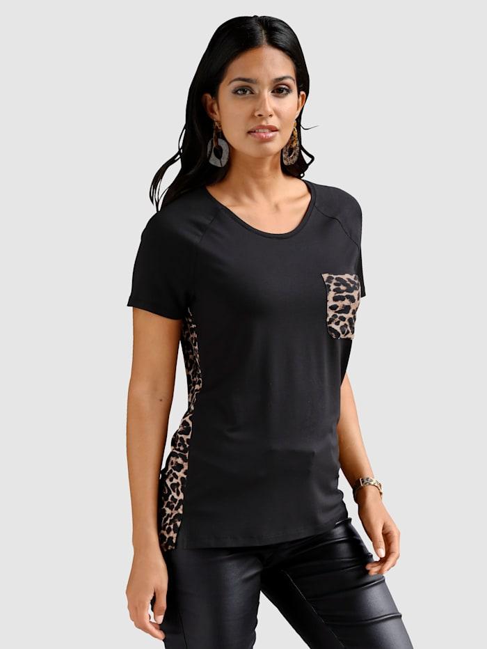 AMY VERMONT Shirt mit Leodruck, Schwarz/Braun