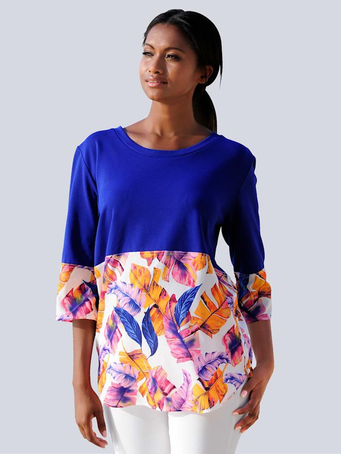 Alba Moda Strandshirt van een materialenmix, blauw/multicolor