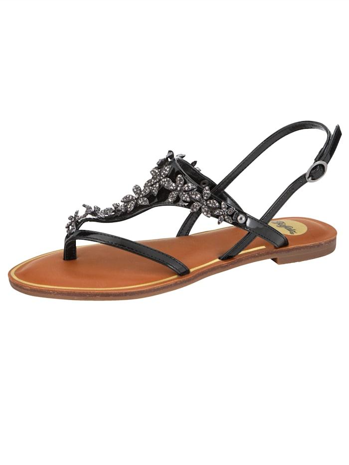 Buffalo Sandaaltje met teenbandje, Zwart