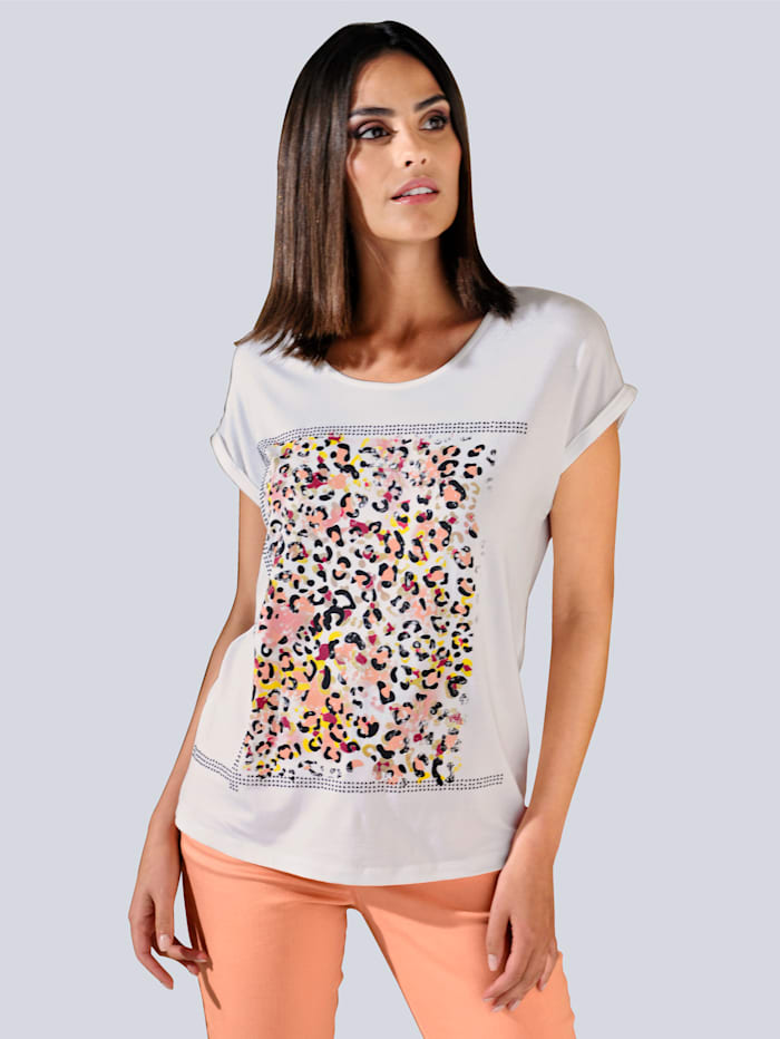 Alba Moda Shirt mit exklusivem Animal Print im Vorderteil, Off-white/Orange
