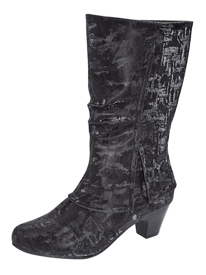 Liva Loop Stiefel aus changierendem Softmaterial, Schwarz