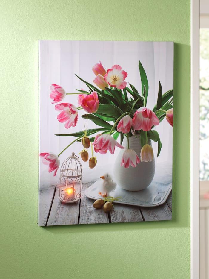 "Tewa Tableau lumineux ""Bouquet de tulipes"", Multicolore"