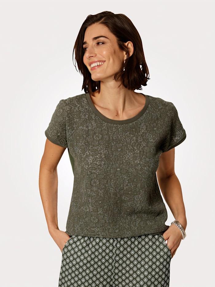 MONA Shirt van een materialenmix, Olijf
