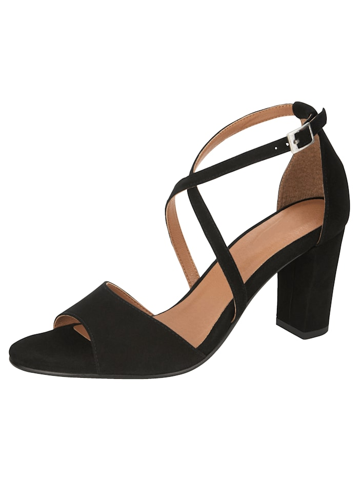 KLiNGEL Sandale mit überkreuzter Riemchenführung, Schwarz