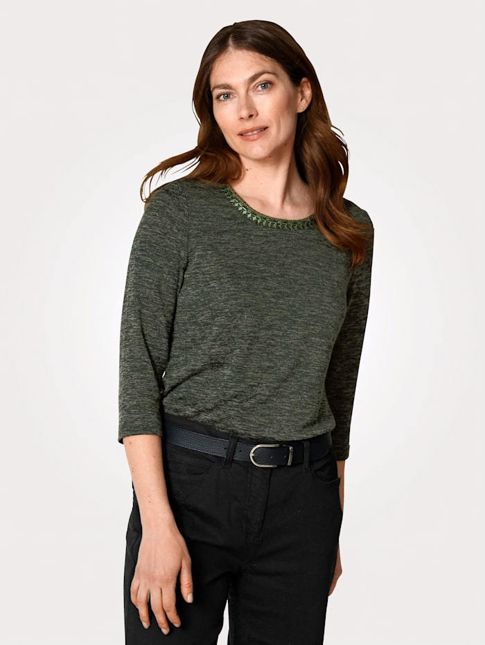 MONA Shirt in Feinstrick-Optik, Oliv