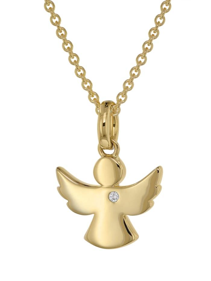 trendor Engel Anhänger mit Diamant Gold 585 + plattierte Silberkette, Goldfarben