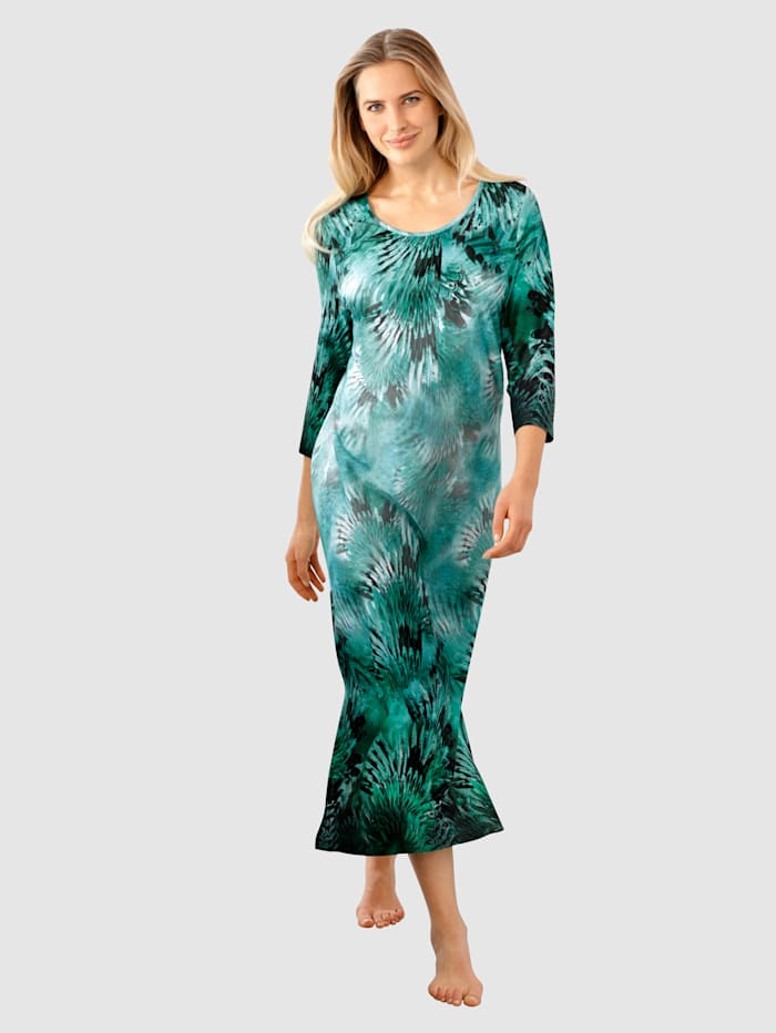 Harmony Hauskleid mit floralem Bordürendruck, Grün/Schwarz