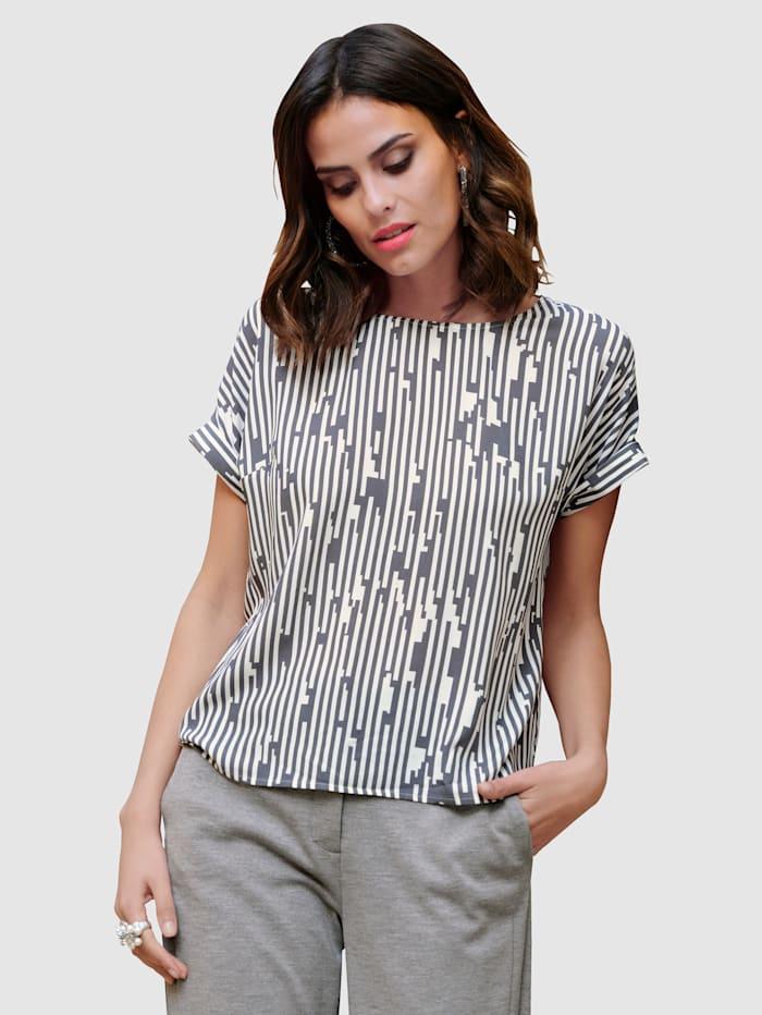 Alba Moda Blus med grafiskt mönster, Grå/Offwhite