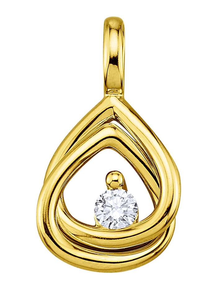 Hanger met diamant, Geelgoudkleur
