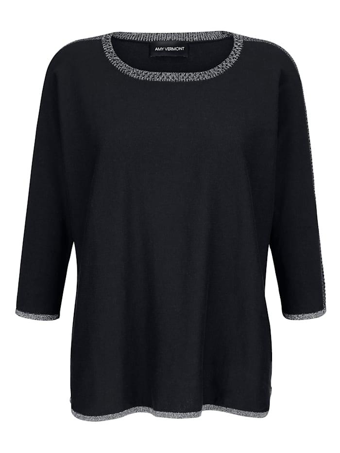 AMY VERMONT Pullover mit schimmerndem Glanzgarn, Marineblau