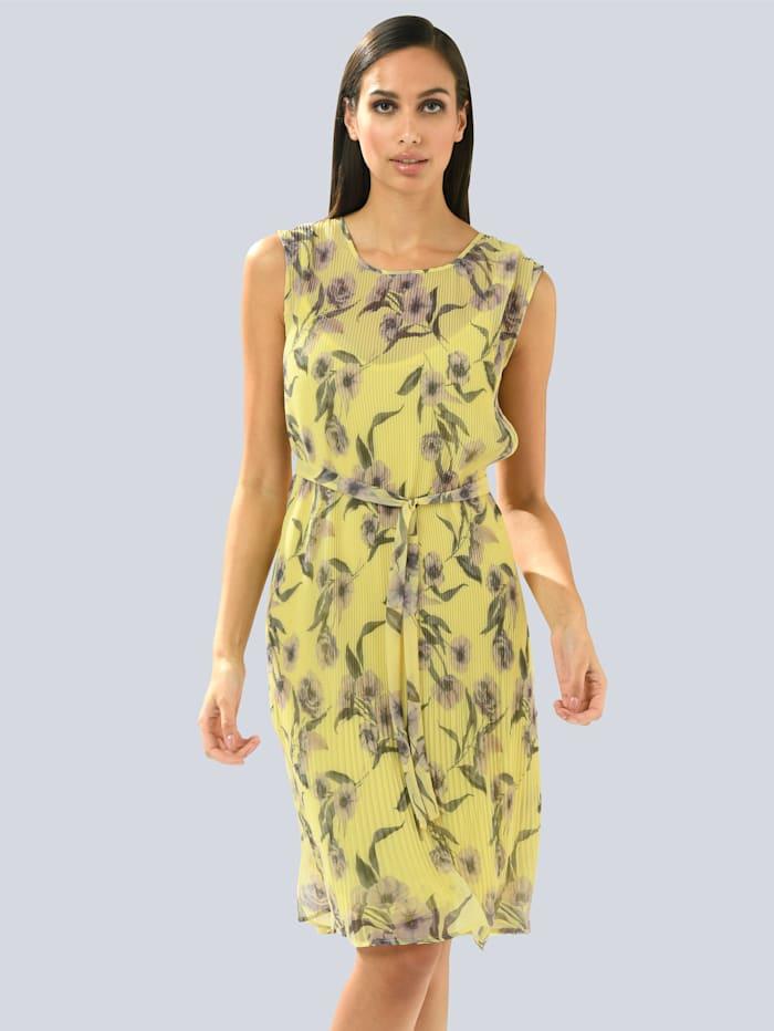 Alba Moda Midikleid aus plissiertem Chiffon, Gelb/Flieder