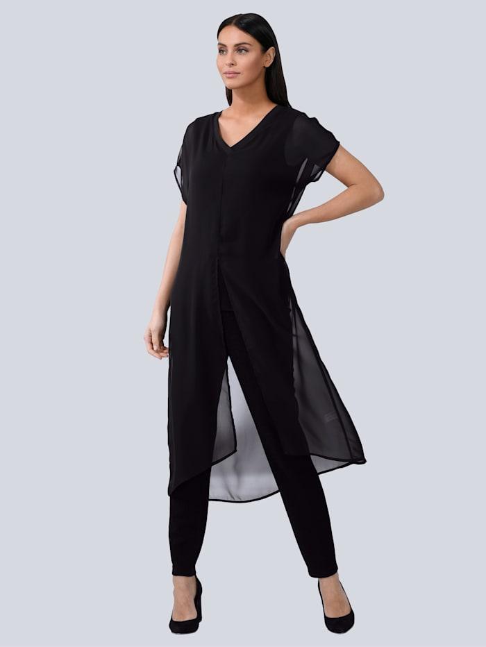Alba Moda Bluse in verlängerter Form, Schwarz