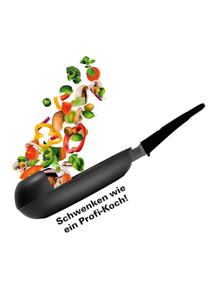 GOURMETmaxx Geschmiedete Schwenkpfanne 'EasyPan', Ø 20 cm, schwarz