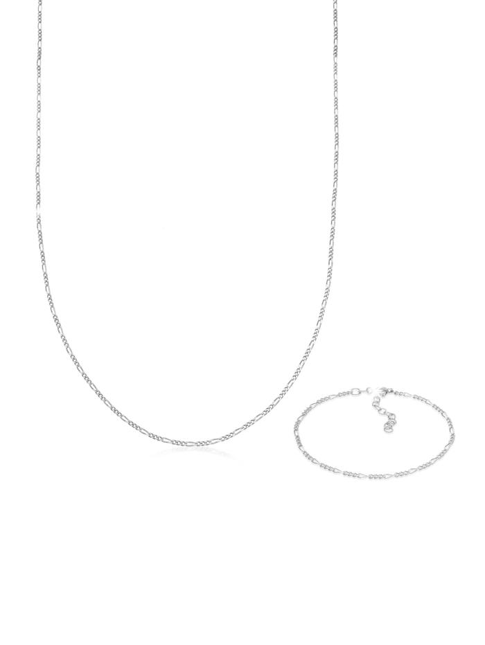 Elli Schmuckset Figaro Halskette Armband Basic 925 Silber, Silber