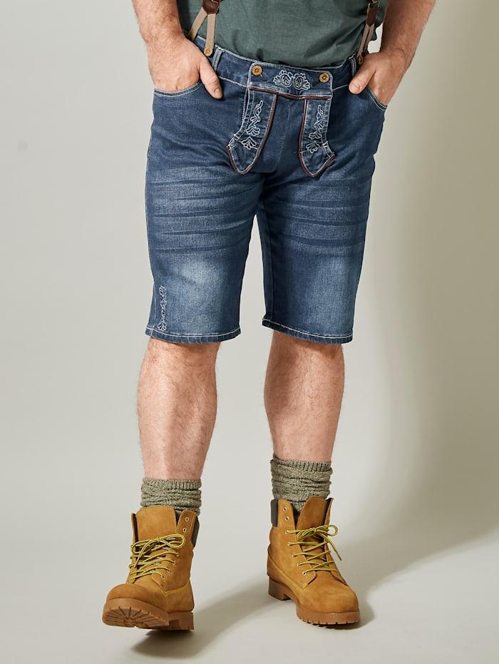 Men Plus Jeansbermuda in Tiroler look, Blue stone