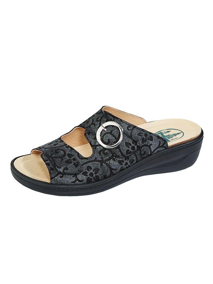 Franken Schuhe Pantolette mit Klettverschluss, Schwarz