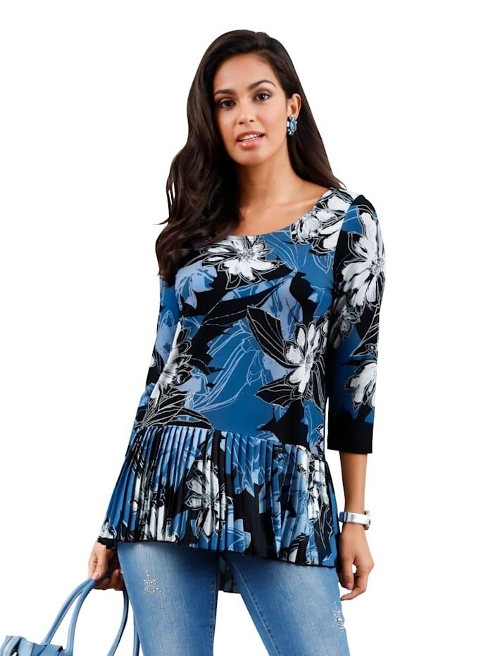 AMY VERMONT Shirt mit Plisseeeinsatz am Saum, Blau/Schwarz
