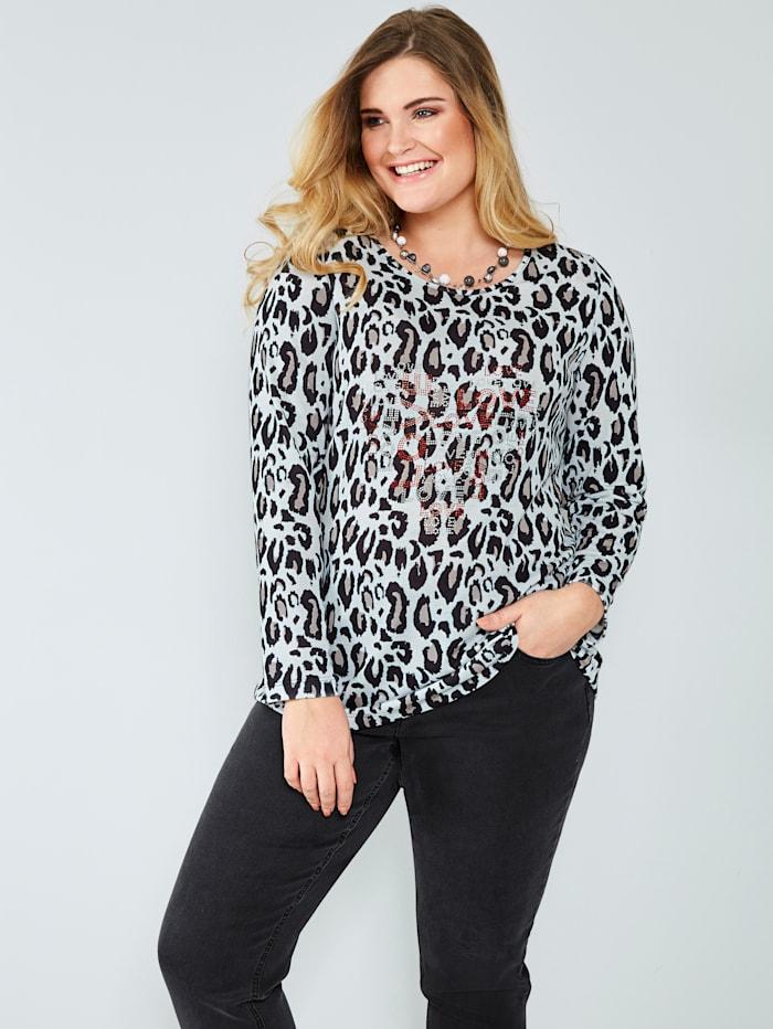 Sara Lindholm Shirt mit Plättchen, Weiß/Schwarz
