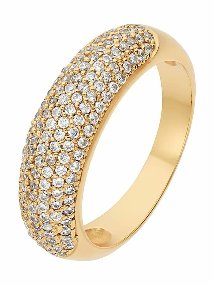 Noelani Ring für Frauen, 925 Silber vergoldet mit Zirkonia, 6 mm breit, Gold