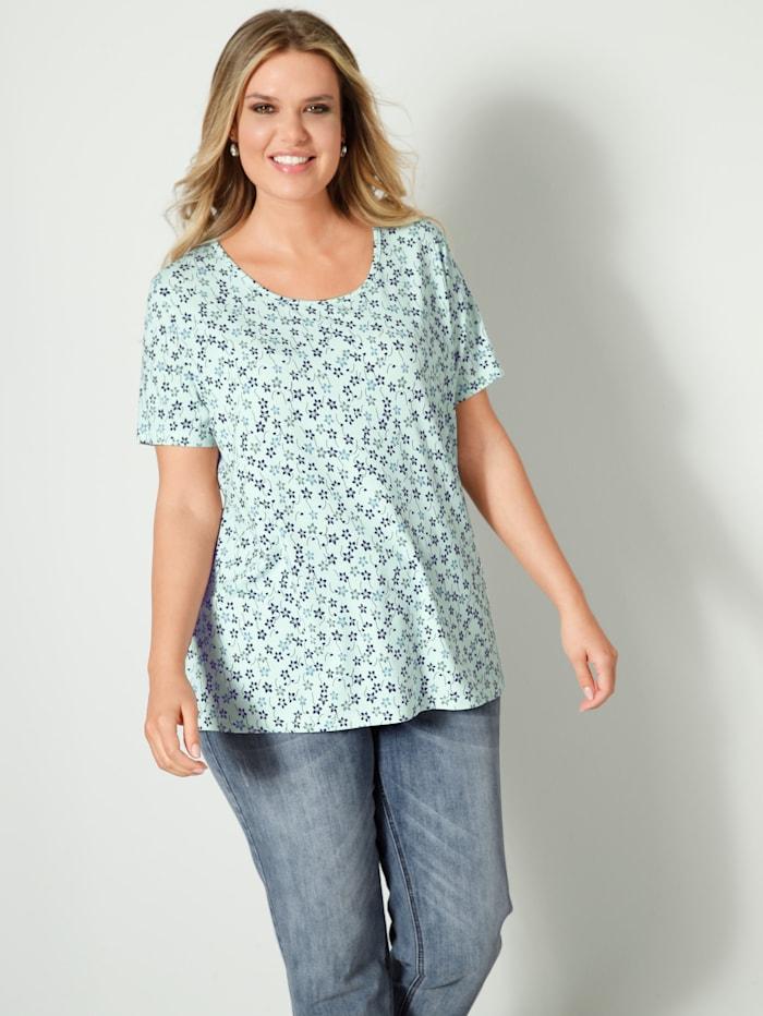Janet & Joyce Shirt lässig geschnitten, Salbeigrün/Marineblau