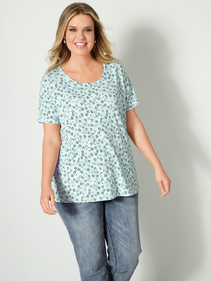 Janet & Joyce T-shirt de coupe ample, Sauge/Marine