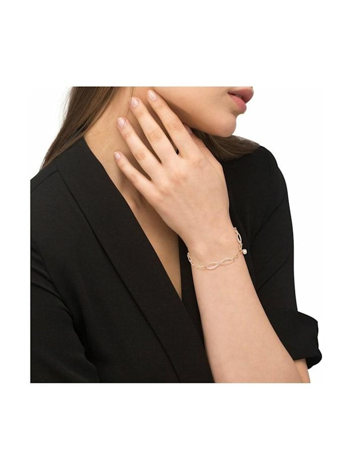 Armband für Damen, Silber 925 rosévergoldet, Zirkonia