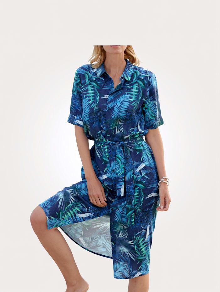 MONA Hemdkleid im schönen Blätterdruck-Dessin, Marineblau/Türkis