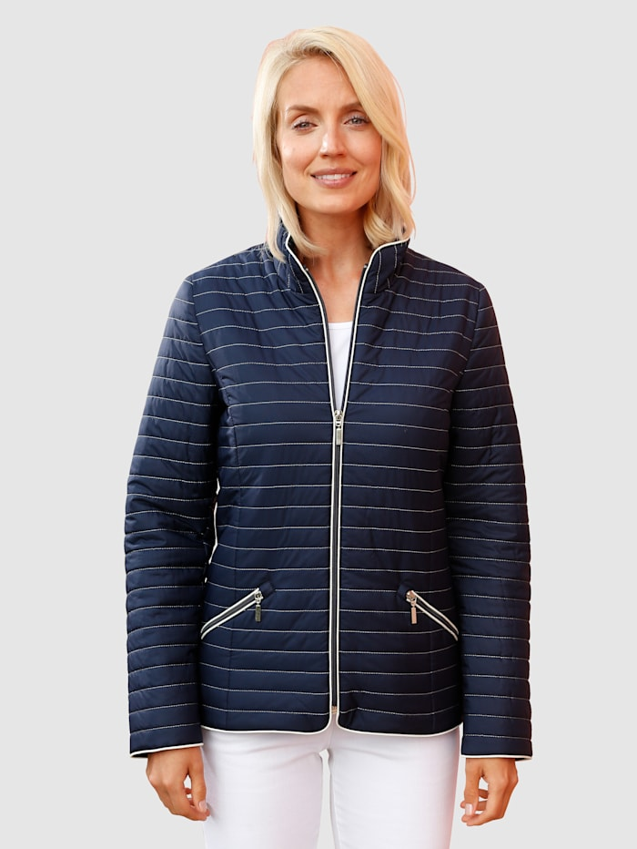 Paola Steppjacke mit Kontrastdetails, Marineblau/Weiß