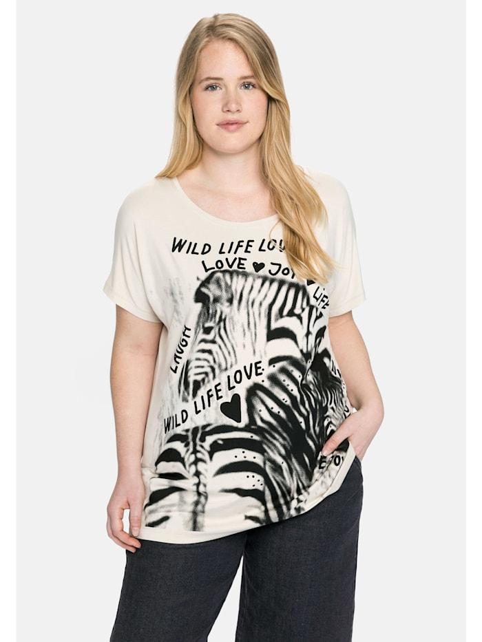 Sheego Sheego Shirt mit Print und Statements vorn und hinten, beigefarben