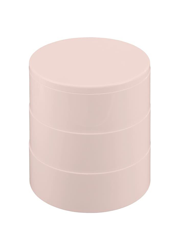 Kosmetik Tower Rosa, mit drehbaren 3 Fächern und Spiegel
