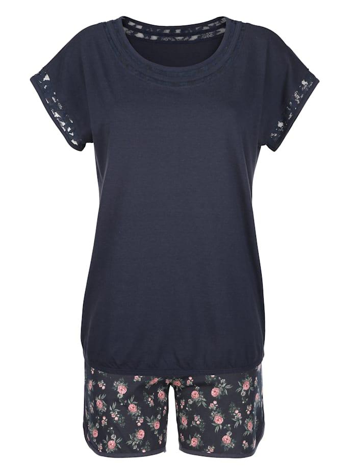 Blue Moon Pyjamas med korta ärmar och korta ben, Marinblå