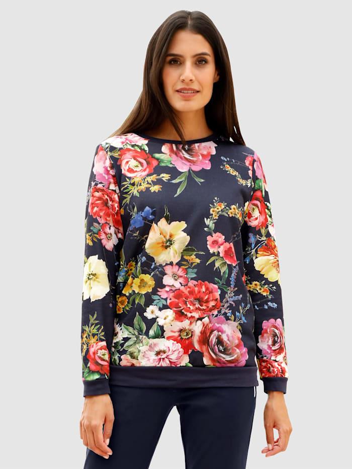 Laura Kent Sweatshirt i storblommigt, Marinblå