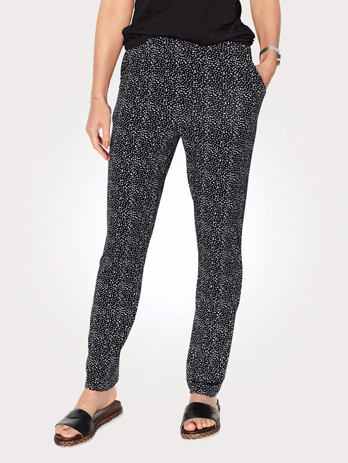 MONA Jersey trousers with a summery spot print, Black/White