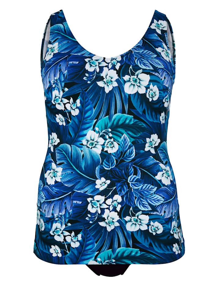 Maritim Badeanzug in floralem Druck allover, Blau/Weiß
