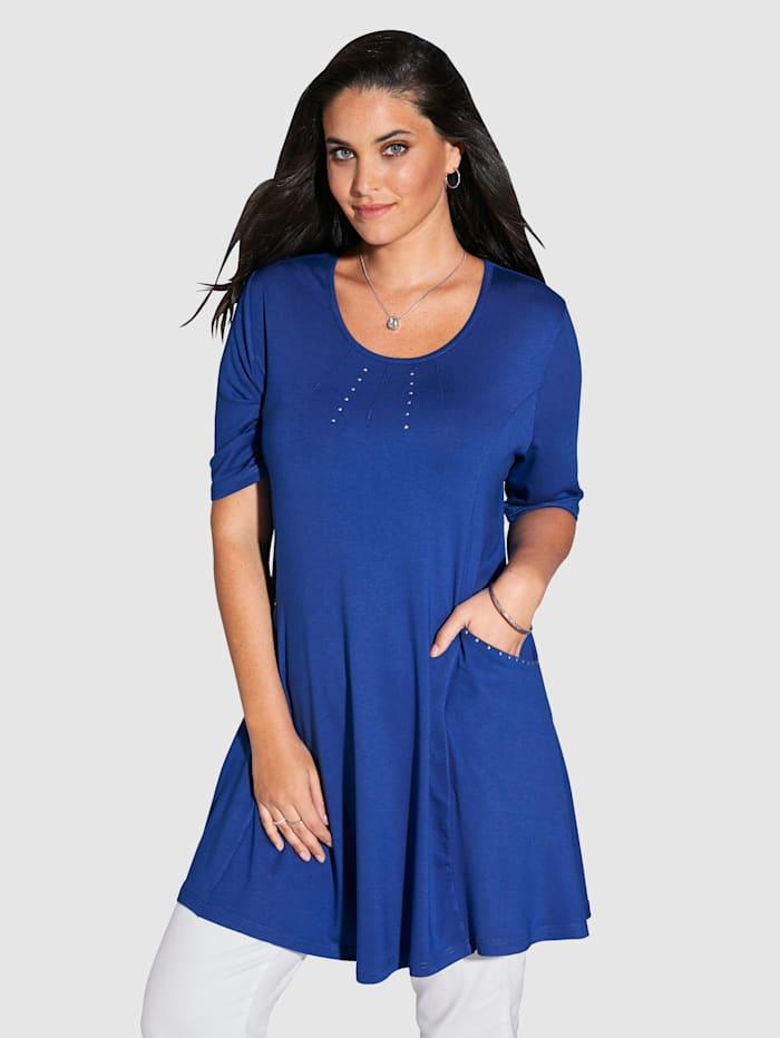 MIAMODA Longshirt mit Nieten am Ausschnitt und an den Taschen, Royalblau