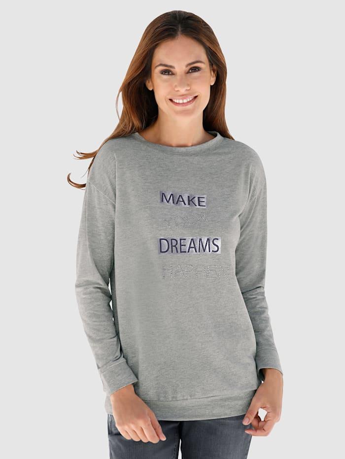 Laura Kent Shirt met zilverkleurig garen, Grijs/Zilverkleur