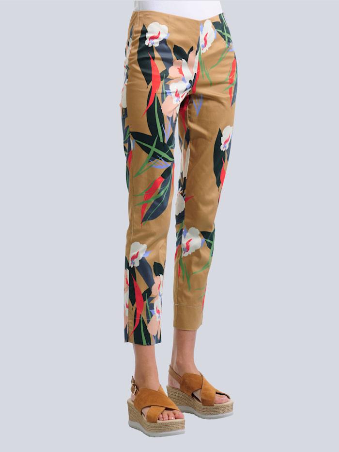 Alba Moda Pantalon à motif floral, Cognac/Marine/Rouge/Vert