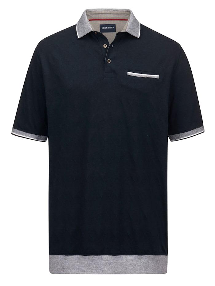 BABISTA Poloshirt van comfortabele jerseyjacquard, Marine