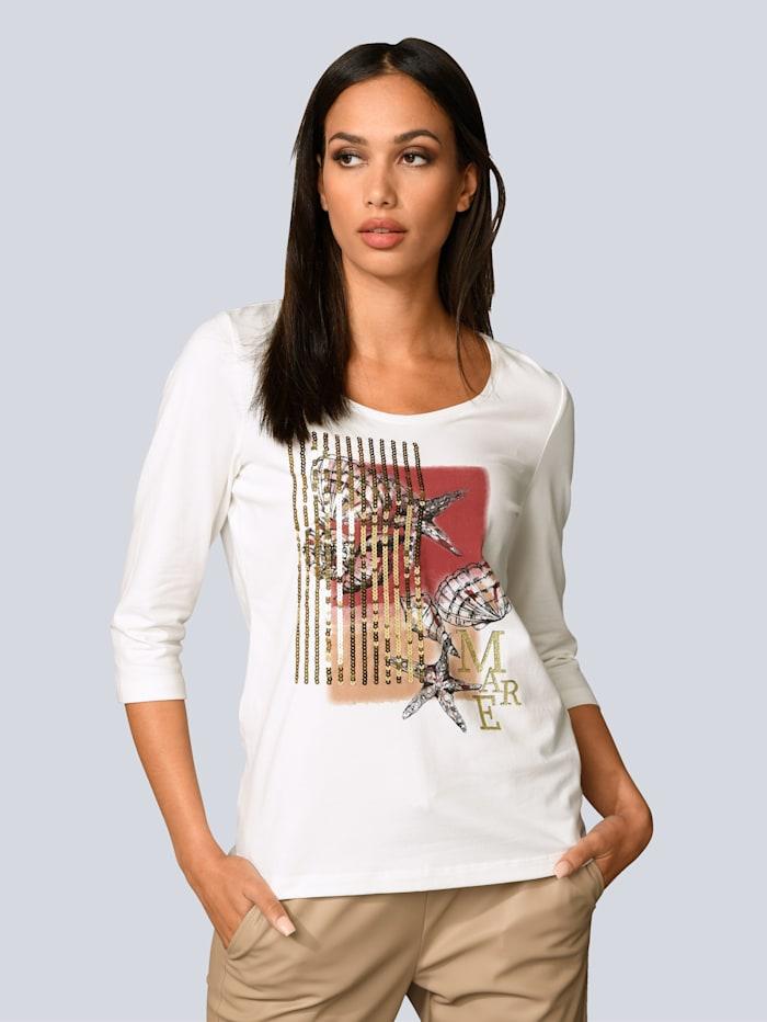 Alba Moda Shirt aus weichen Baumwoll-Jersey, Off-white