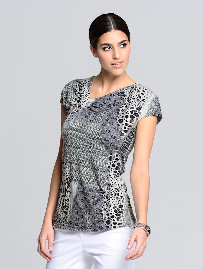 Alba Moda Shirt in wunderschönen Mustermix, Schwarz/Weiß/Grau