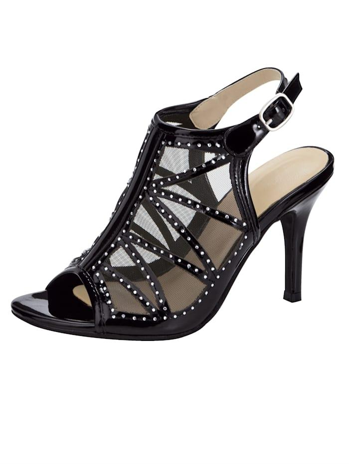 WENZ Sandaaltje met kleine siersteentjes, Zwart