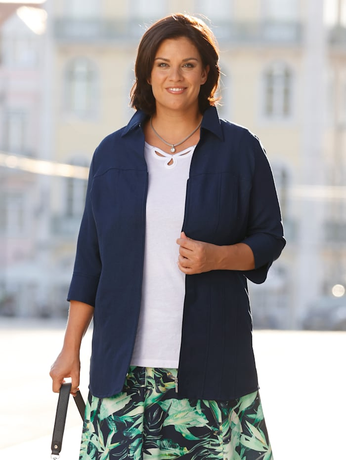 m. collection Blusenjacke mit offenem Hemdkragen, Marineblau