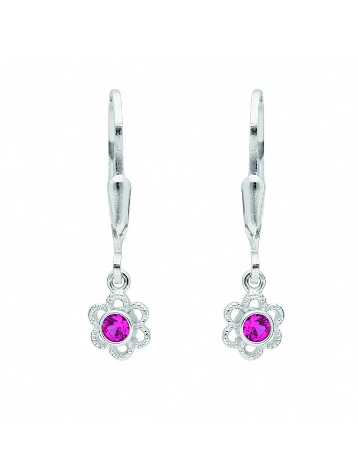 1001 Diamonds Damen Silberschmuck 925 Silber Ohrringe / Ohrhänger Blüte mit Zirkonia Ø 5,8 mm, bunt