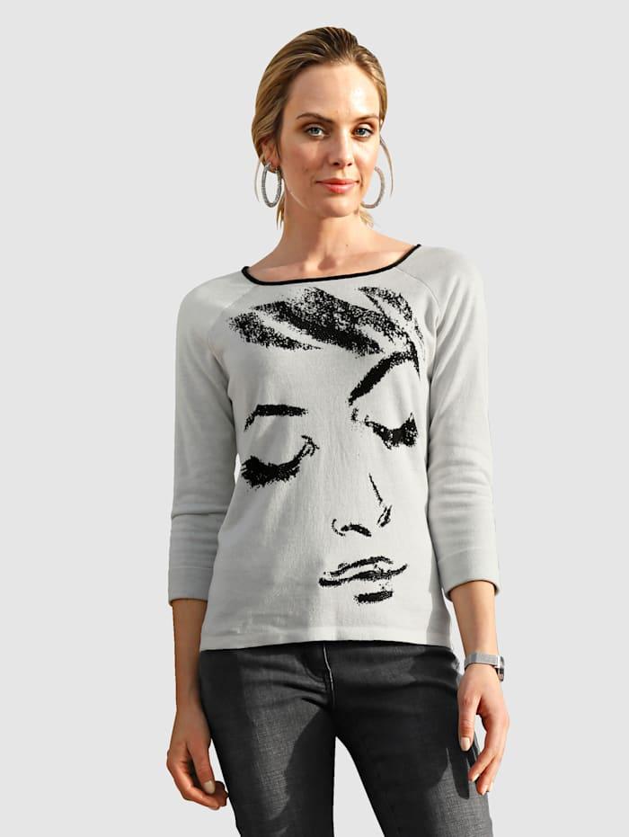 AMY VERMONT Pullover mit Strasssteindekoration im Vorderteil, Off-white/Schwarz