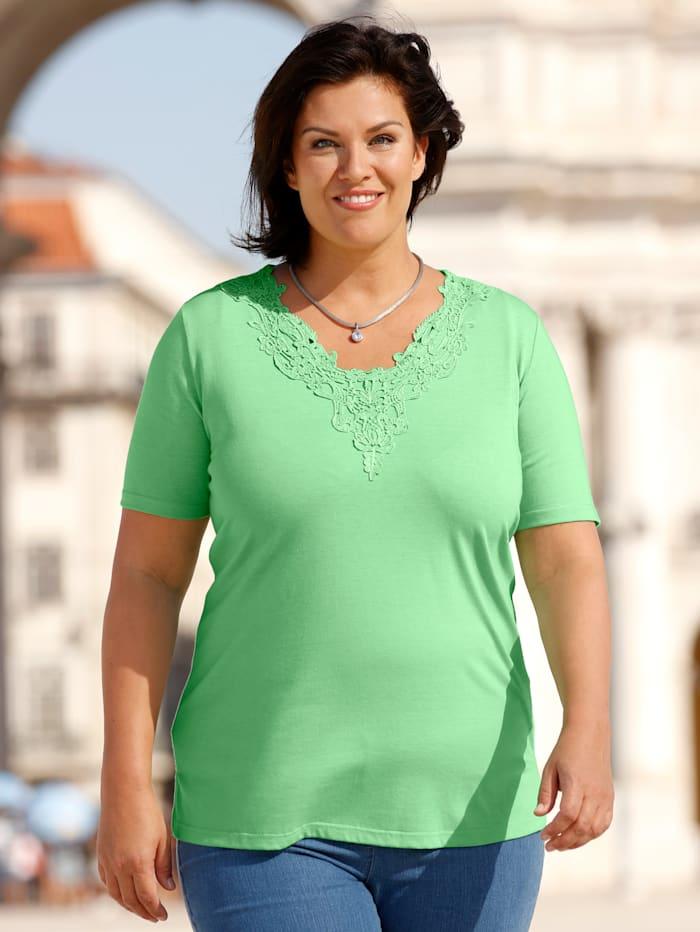 m. collection Shirt met kant aan de hals, Groen