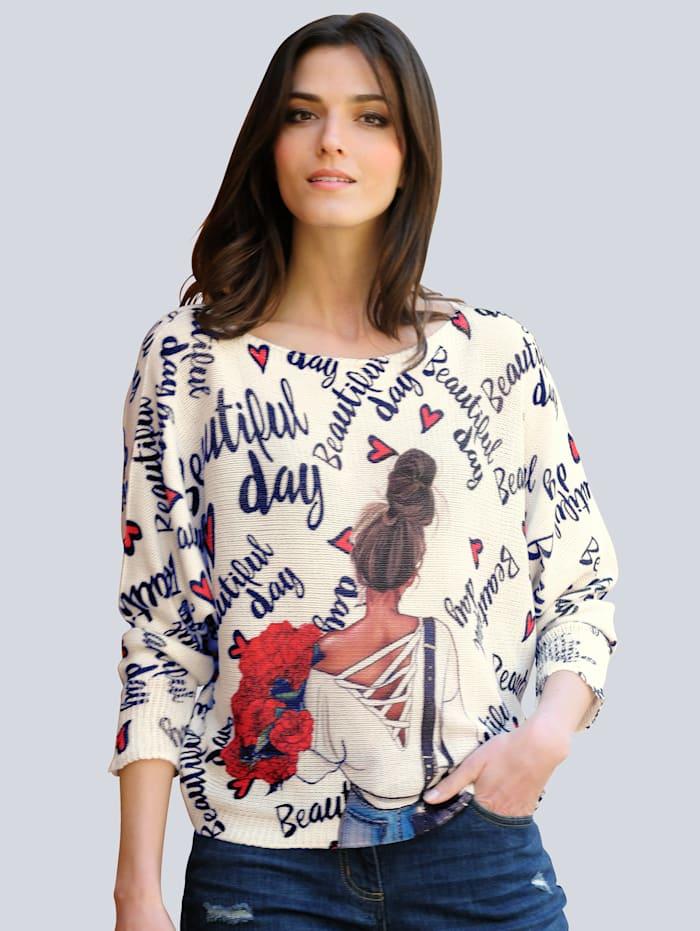 Alba Moda Pullover mit ausgefallenem Print allover, Off-white/Marineblau