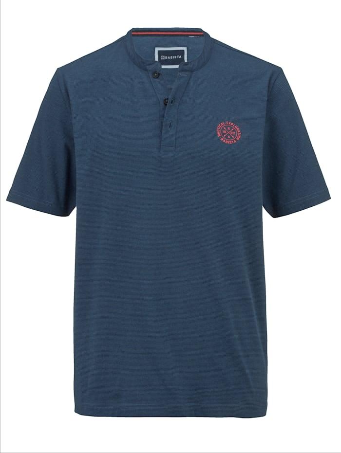 BABISTA T-shirt col tunisien à fines rayures, Bleu