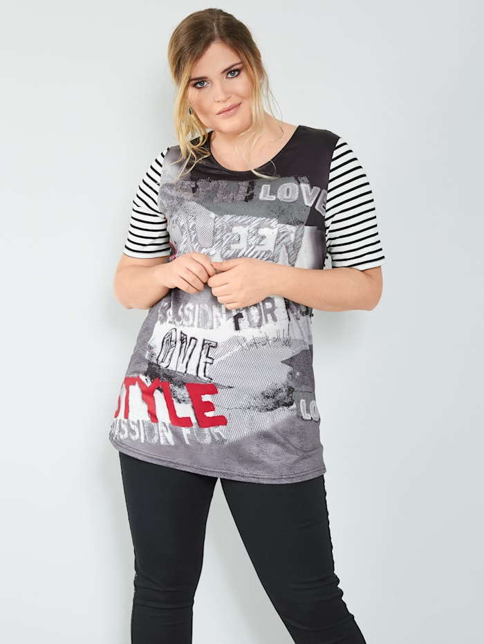 MIAMODA T-shirt à motifs mélangés, Noir/Blanc