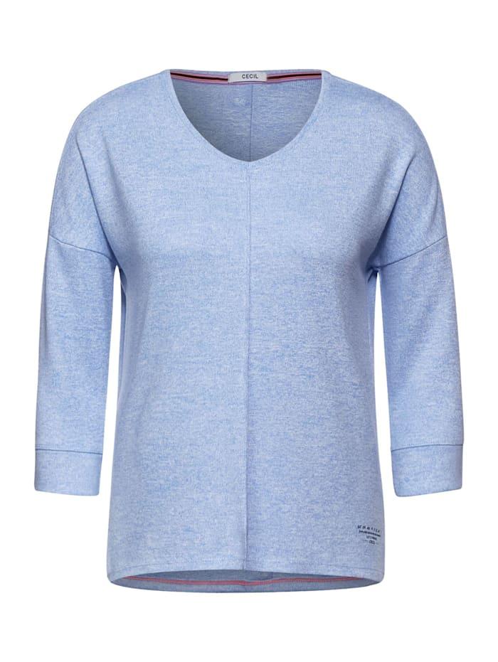 Cecil Shirt mit V-Ausschnitt, light blue melange