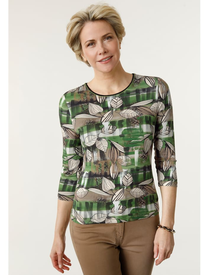 Barbara Lebek Shirt im Muster-Mix, Grün/Cognac